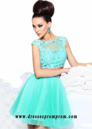 Short Beaded Pleated Two Piece Aqua Homecoming Dress 2016