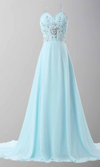 Sky Blue Halter Long Prom Dresses Lace Up Back KSP447
