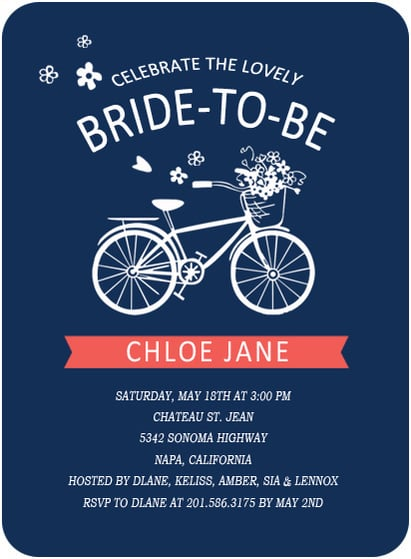Blue Wedding Bicycle Bridal Invitation Cards HPB130