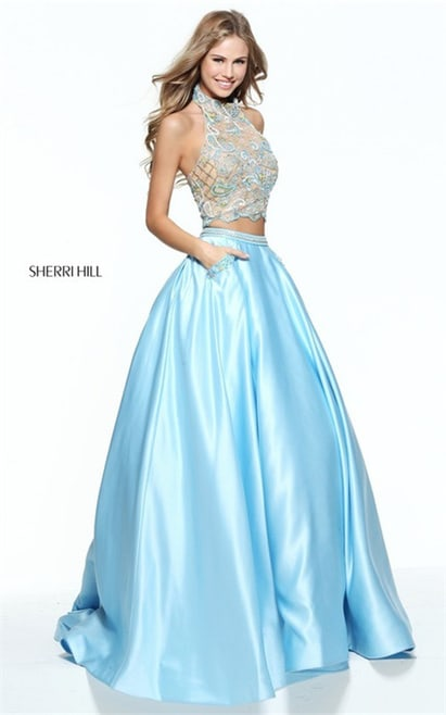 2 Piece Sherri Hill 51041 Beaded Embroidered Halter Long Party Gown 2017