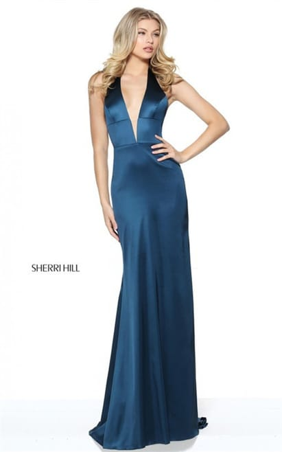 2017 Halter Backless Plunged V-Neck Teal Evening Gown By Sherri Hill 50919
