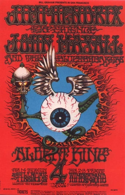 Rick Griffin: Poster for Jimi Hendrix and John Mayall (1968)