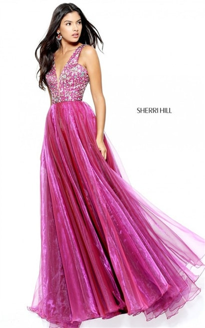 Long Sherri Hill 50970 Cheap Magenta Print Prom 2017 Party Dress