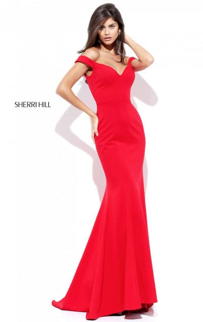 Sweetheart Neckline 2017 Sherri Hill 50730 Open Back Off The Shoulder Red Long Satin Mermaid Dresses